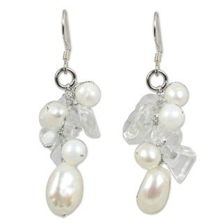 Handmade Sterling Silver Icicles Freshwater Pearl and Quartz Dangling Style Earrings (Thailand)