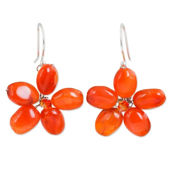 e347c870c Handmade Mystic Daisy Orange Carnelian Petals Crystal Bead Flowers on 925 Sterling  Silver Wires Dangle Earrings