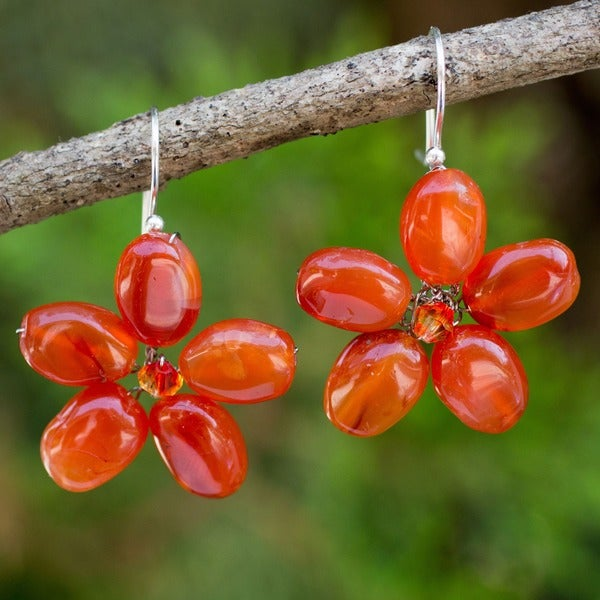 Mystic Daisy Orange Carnelian Petals Crystal Bead Center Flowers on 925 Sterling Silver Wires Womens Dangle Earrings (Thailand)