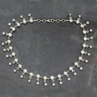 Gratitude Delicate Fluid White Freshwater Pearl with 925 Sterling Silver Suitable for Bridal Womens Collar Necklace (India)