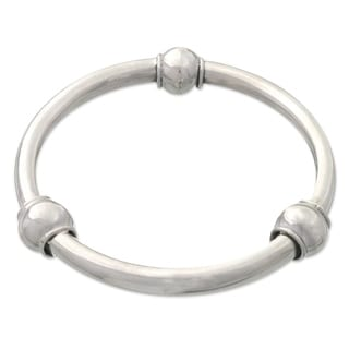 Natural Orbs Polished 925 Sterling Silver Trio of Decorative Spheres on Womens 3 Inch Diameter Bangle Bracelet (Indonesia)