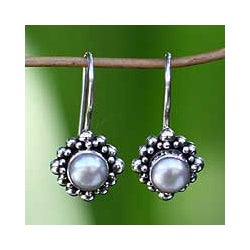Handmade 'Moon Face' Pearl Earrings (Indonesia)