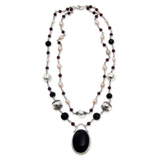 Handmade 'Duet' Onyx and Pearl Necklace (Indonesia)
