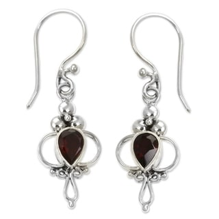 Crimson Tears Faceted Red Garnet Teardrops in Romantic Vintage Style 925 Sterling Silver Womens Dangle Earrings (Indonesia)