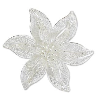 Tiger Lily Romantic Lace Like Feminine Large Single Flower Vintage Look 925 Sterling Silver Filigree (Indonesia)