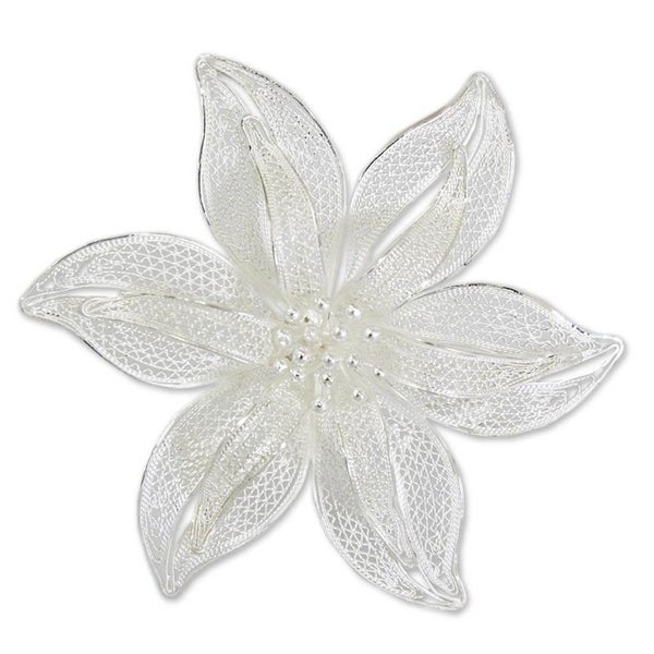 Jewelry & Watches A Complete Range Of Specifications Precious Metal Without Stones Beautiful Vintage Fine Fashion Sterling Silver Hand Made Rose Flower Brooch Pin Floral