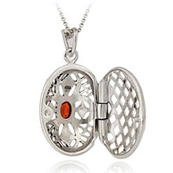 Glitzy Rocks Sterling Silver Marcasite and Garnet Oval Locket Necklace - Thumbnail 1