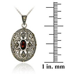 Glitzy Rocks Sterling Silver Marcasite and Garnet Oval Locket Necklace - Thumbnail 2