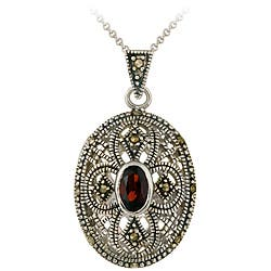 Glitzy Rocks Sterling Silver Marcasite and Garnet Oval Locket Necklace|https://ak1.ostkcdn.com/images/products/3181205/Glitzy-Rocks-Sterling-Silver-Marcasite-and-Garnet-Oval-Locket-Necklace-P11300322.jpg?impolicy=medium