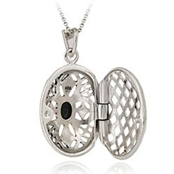 Glitzy Rocks Sterling Silver Marcasite and Onyx Oval Locket - Thumbnail 1