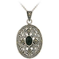Glitzy Rocks Sterling Silver Marcasite and Onyx Oval Locket - Thumbnail 0