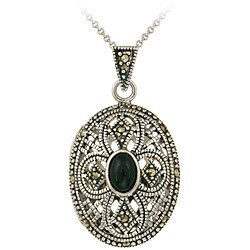 Glitzy Rocks Sterling Silver Marcasite and Onyx Oval Locket