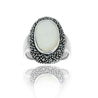 Glitzy Rocks Sterling Silver Oval Mother of Pearl and Marcasite Ring