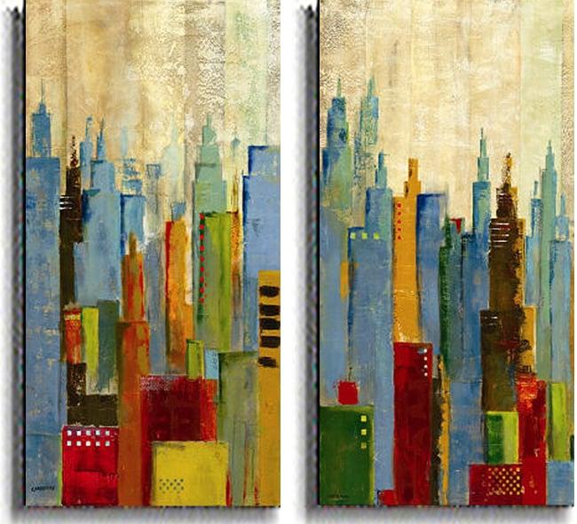 Jason Cardenas 'Towerscape' 2-piece Canvas Set - Thumbnail 1