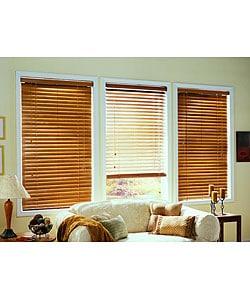 Golden Oak Real Wood Blinds (66 in. x 64 in.)