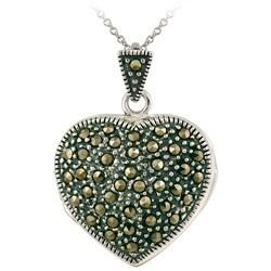 Glitzy Rocks Sterling Silver Marcasite Heart Locket Necklace