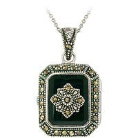 Glitzy Rocks Sterling Silver Marcasite and Onyx Locket Necklace