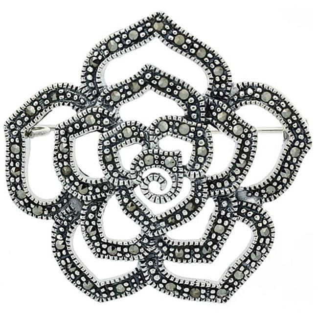 Glitzy Rocks Sterling Silver Marcasite Flower Pin