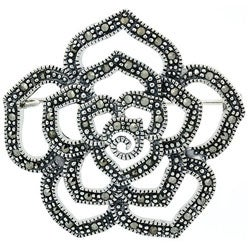 Glitzy Rocks Sterling Silver Marcasite Flower Pin