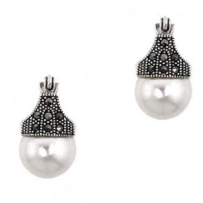 Glitzy Rocks Sterling Silver Faux Pearl And Marcasite Art Deco Earrings