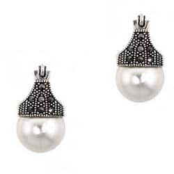 Glitzy Rocks Sterling Silver Faux Pearl And Marcasite Art Deco Earrings