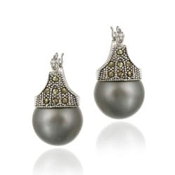 Glitzy Rocks Sterling Silver Marcasite and Grey Faux Pearl Earrings