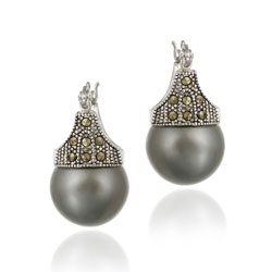 Glitzy Rocks Sterling Silver Marcasite and Grey Faux Pearl Earrings