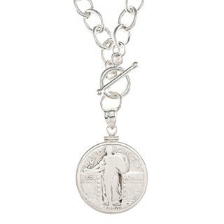 American Coin Treasures Sterling Silver Standing Liberty Quarter Necklace