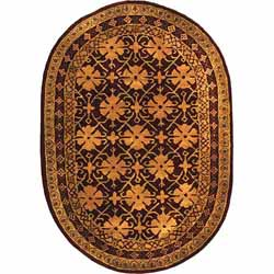 Safavieh Handmade Classic Agra Maroon/ Beige Wool Rug (7'6 x 9'6 Oval)