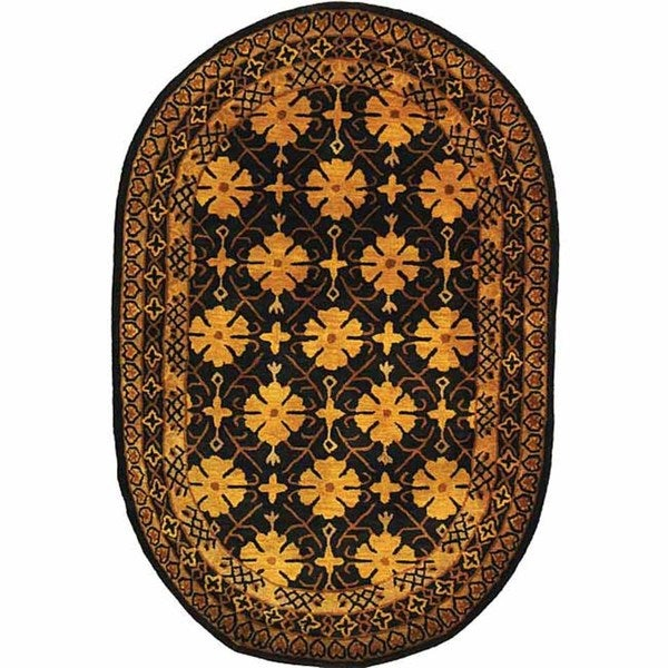 "Safavieh Handmade Classic Agra Green/ Apricot Wool Rug - 7'6"" x 9'6"" oval"