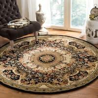 Safavieh Handmade Classic Empire Black/ Gold Wool Rug - 6' x 6' Round