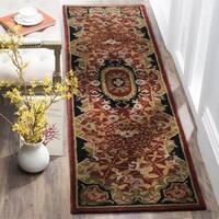Safavieh Handmade Classic Empire Burgundy/ Black Wool Runner Rug - 2'3 x 8'