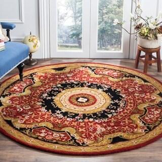 Safavieh Handmade Classic Empire Burgundy/ Black Wool Rug (3'6 Round)