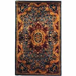 Safavieh Handmade Empire Royal Blue/ Burgundy Wool Runner (2'3 x 4')
