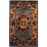 "Safavieh Handmade Empire Royal Blue/ Burgundy Wool Runner - 2'3"" x 4'"