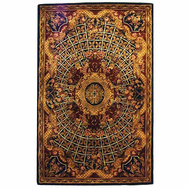Safavieh Handmade Classic Empire Royal Blue/ Burgundy Wool Rug (6' x 9')