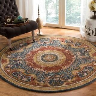 Safavieh Handmade Classic Empire Royal Blue/ Burgundy Wool Rug (3'6 Round)