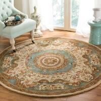 "Safavieh Handmade Classic Empire Light Blue/ Ivory Wool Rug - 3'6"" x 3'6"" round"