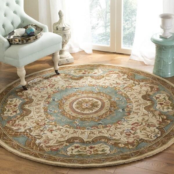 Safavieh Handmade Classic Empire Light Blue/ Ivory Wool Rug (3'6 Round)