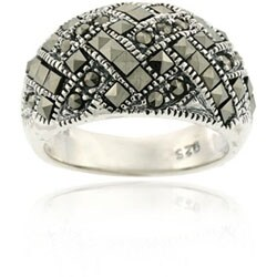 Glitzy Rocks Sterling Silver Marcasite Criss-cross Ring (2 options available)