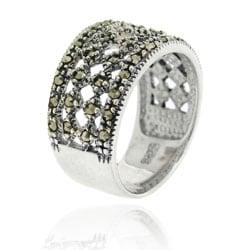 Glitzy Rocks Sterling Silver Marcasite Fashion Ring