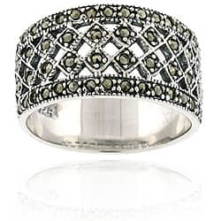 Glitzy Rocks Sterling Silver Marcasite Fashion Ring|https://ak1.ostkcdn.com/images/products/3185252/Glitzy-Rocks-Sterling-Silver-Vintage-style-Marcasite-Ring-P11303546d.jpg?impolicy=medium