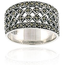 Glitzy Rocks Sterling Silver Marcasite Fashion Ring