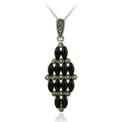 Glitzy Rocks Sterling Silver Marcasite and Onyx Art Deco Cluster Necklace