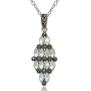 Glitzy Rocks Silver Art Deco Marcasite and Mother of Pearl Cluster Necklace|https://ak1.ostkcdn.com/images/products/3185313/P11303625.jpg?impolicy=medium