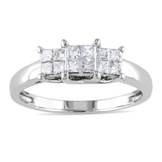 Miadora 14k Gold 1/2ct TDW Princess-cut Diamond Ring