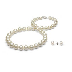 DaVonna Silver White FW Pearl Graduated Necklace and Earrings Set (4-8 mm)