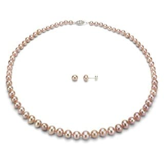 DaVonna Silver Pink FW Pearl Graduated Necklace and Earrings Set (4-8 mm)