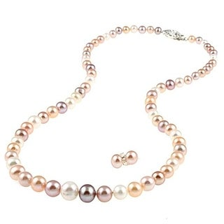 DaVonna Sterling Silver Multi Pink Graduated Freshwater Pearl Necklace and Earrings Set (4-8 mm)