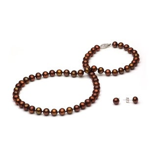 DaVonna Silver Brown FW Pearl Graduated Necklace and Earrings Set (4-8 mm)